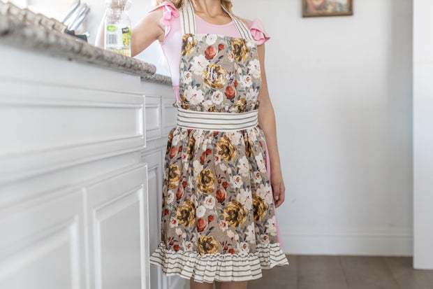 Cocoa floral and stripe apron for girls