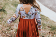 V-Shaped Back Girls Twirl Dress For Fall