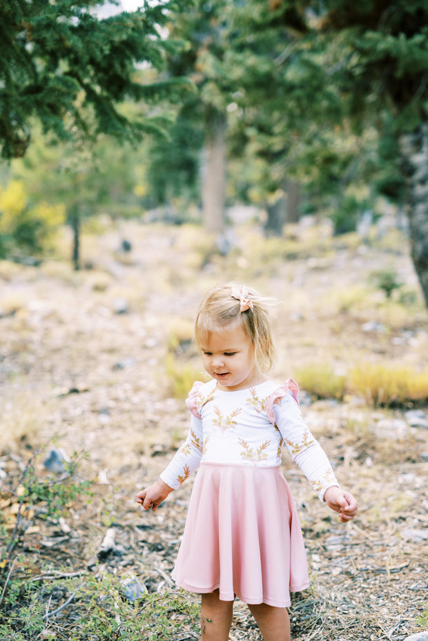 Light Pink Deer Christmas Dress For Girls