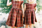 Plaid Christmas Dress With Gold Piping