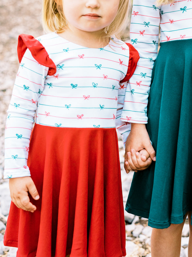 Red and Green Bow Christmas Dress