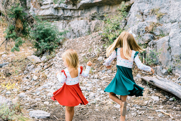 Red and Green Christmas Twirl Dresses
