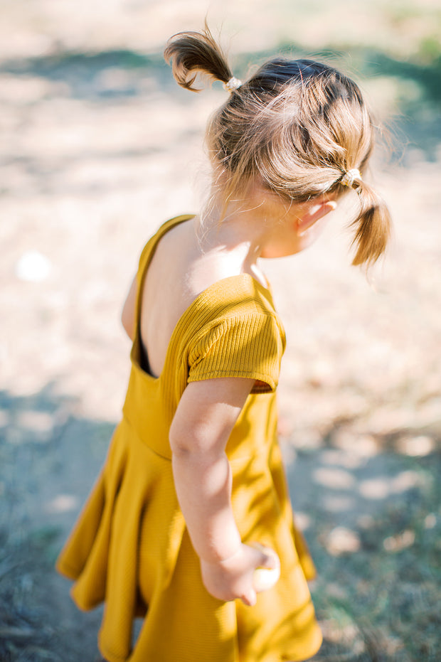 Solid Mustard Twirly Dress