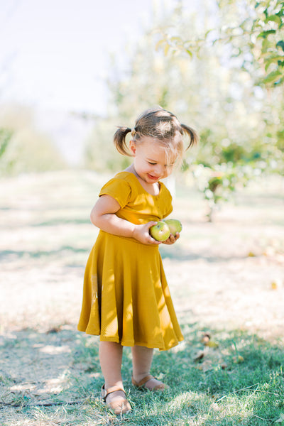 Girls Mustard Twirl Dress