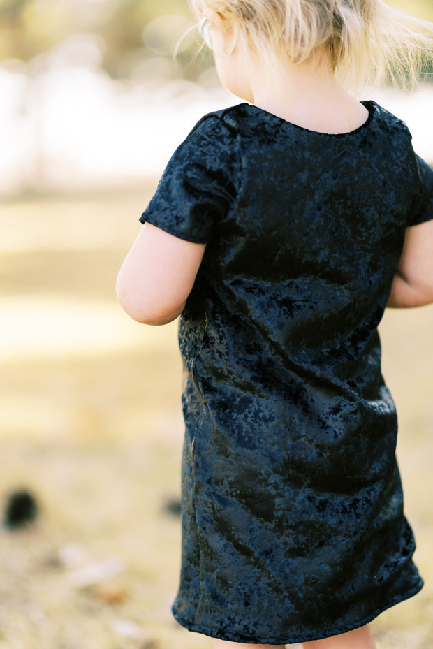 Shift dress for little girls in black foil velvet