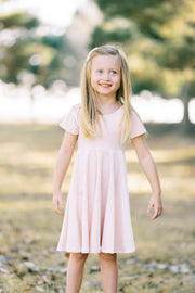 Blush Pink Velvet and Gold Dot Twirl Dress
