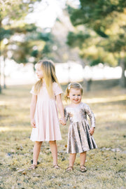 Modern girls twirl dress in blush pink velvet and gold foil velvet