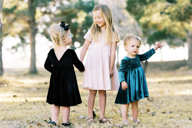 Velvet and gold dot toddler twirl dresses