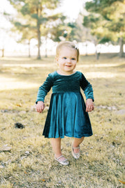 Forest Green Velvet and Gold Dot Toddler Twirl Dress