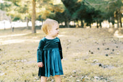 Green Velvet Little Girls Twirl Dress