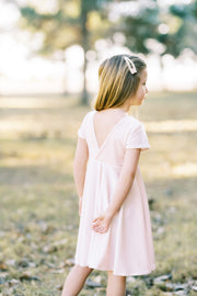 Modern V Shaped Back Blush Pink Velvet Girls Dress