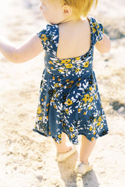Square back toddler twirl dress in modern floral print