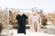 Black foil and Gold foil little girls modern dresses at Rem and Em