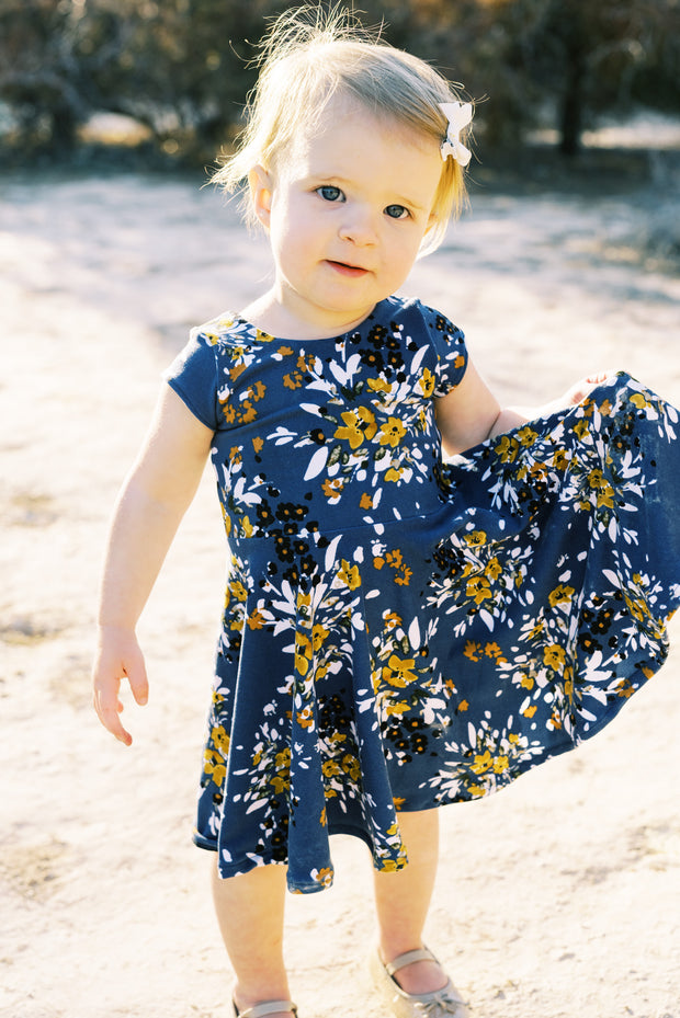 Dusty blue abstract floral twirl dress