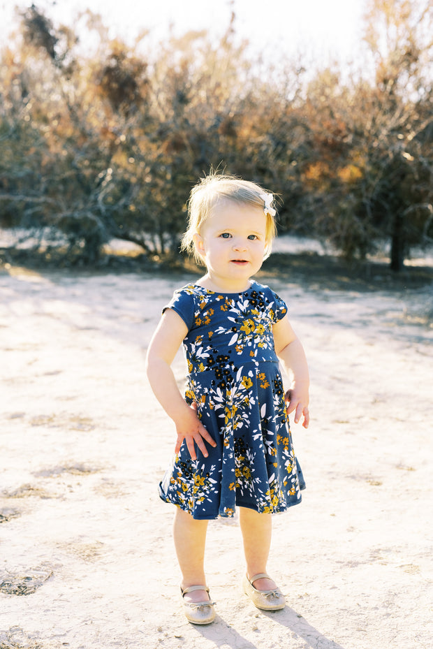 Dusty blue and mustard floral toddler dress