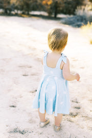 Square back modern sun print toddler dress