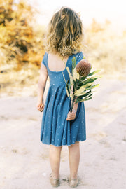 Dusty blue modern hearts girls twirl dress