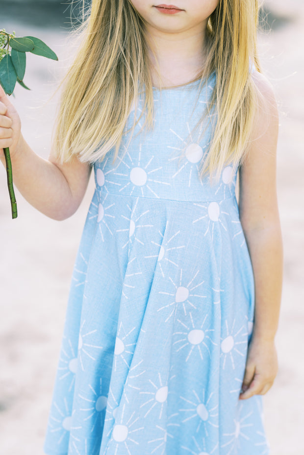 You are my sunshine twirl dress in light blue