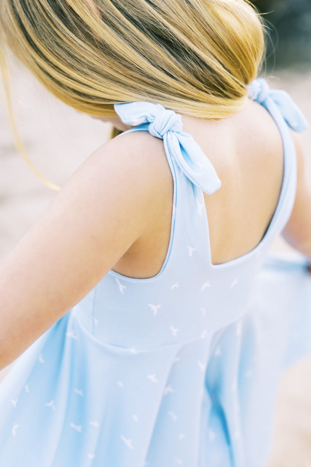 Modern tie top twirl dress for little girls