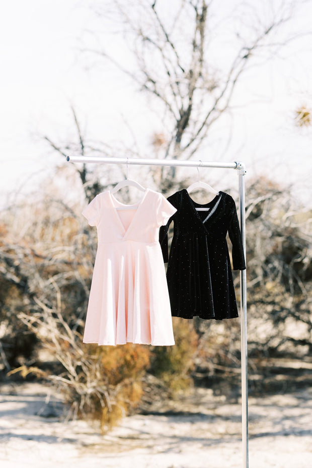 Black and Blush Pink Velvet and Gold Dot Toddler Twirl Dresses