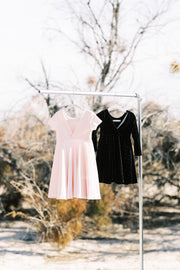 Blush Pink Velvet With Gold Dot Girls Twirl Dress