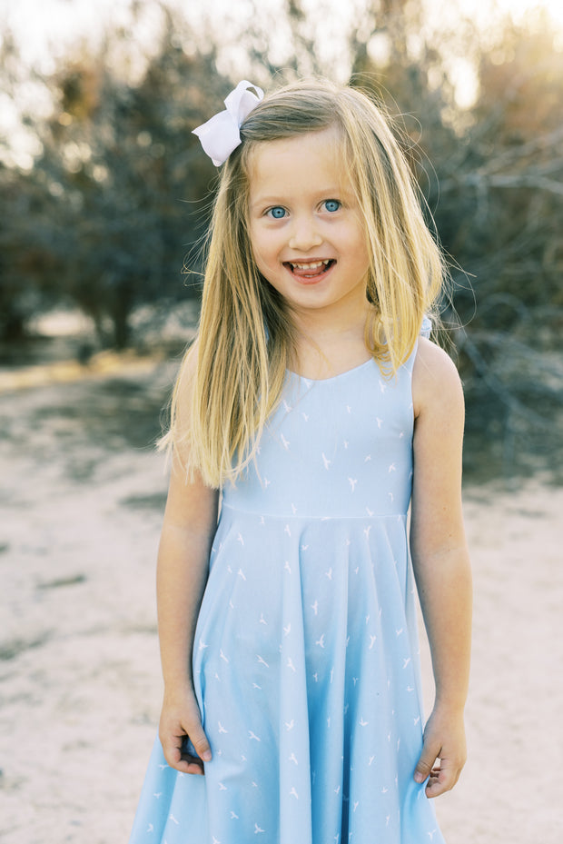 Blue bird modern twirl dress for girls
