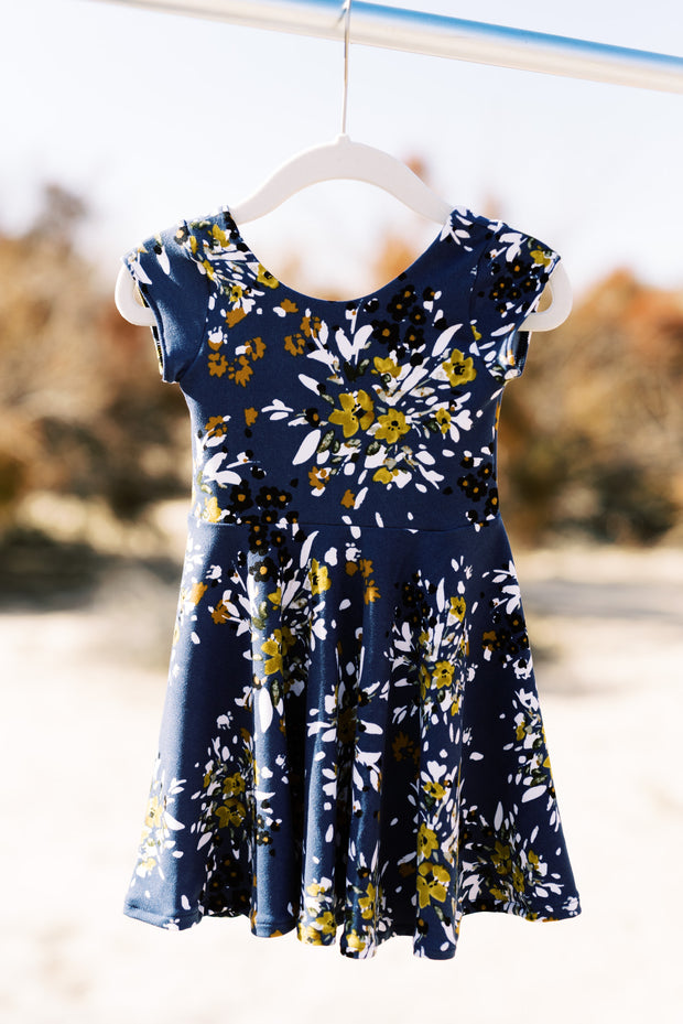 Dusty blue modern toddler twirl dress