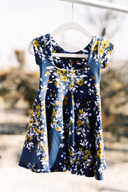 Dusty blue and mustard modern floral girls dress