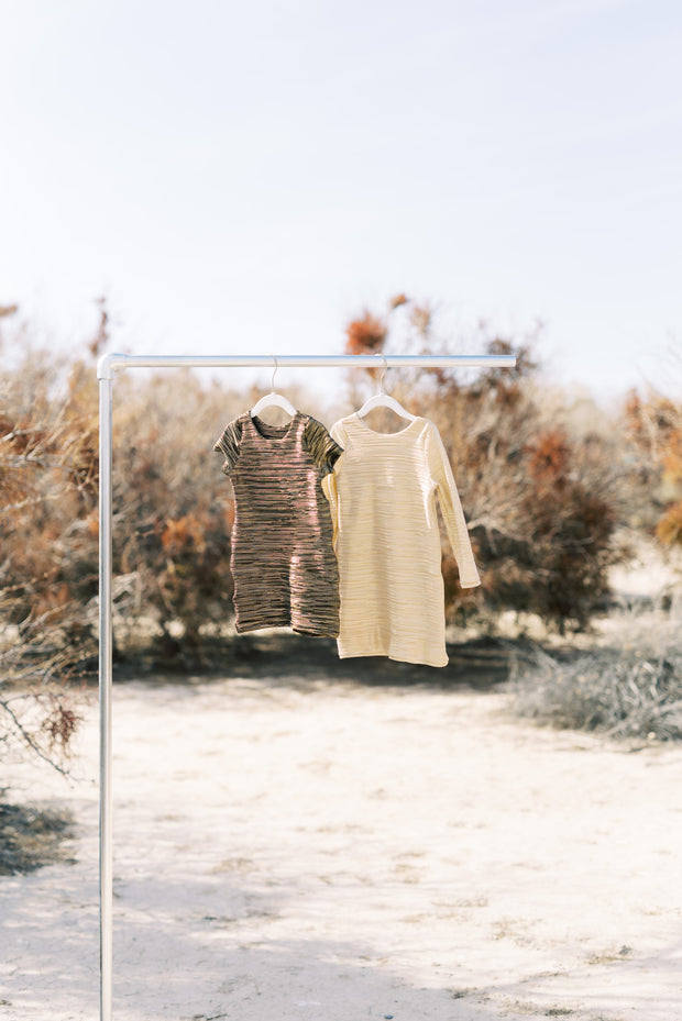Metallic gold shift dresses from Rem and Em