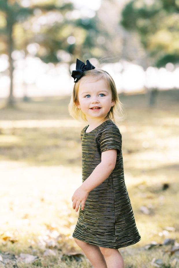 Modern toddler black and gold shift dress