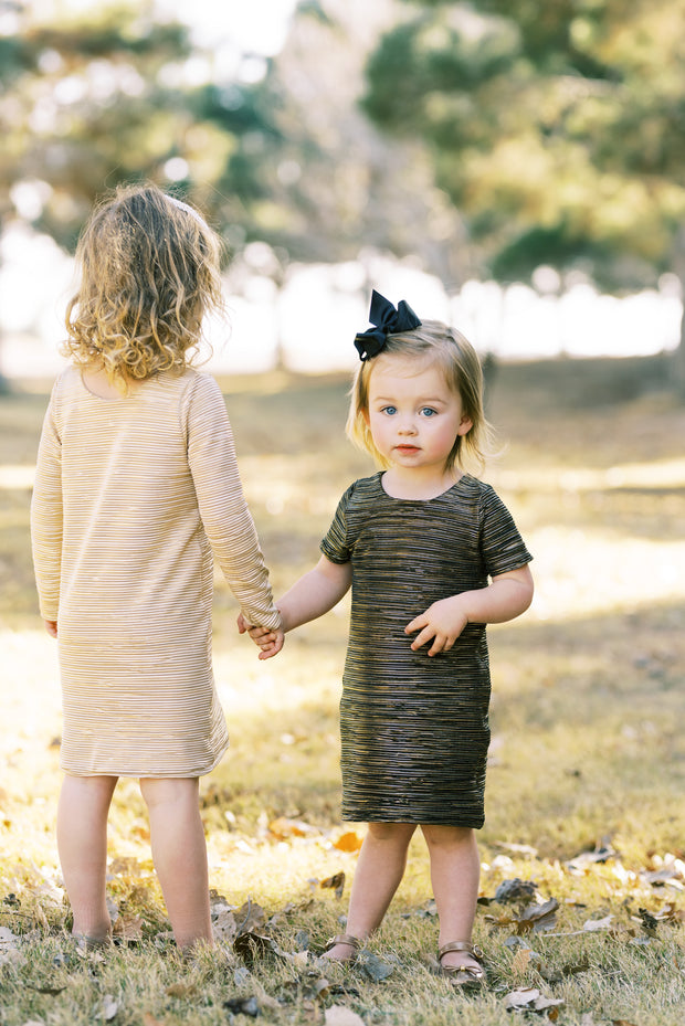 Little girls modern shift dress in metallic gold and black