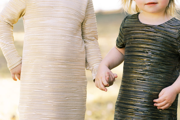 Black and gold pleated toddler shift dress