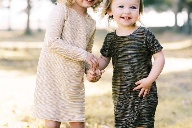 Flower girl metallic gold and black shift dresses