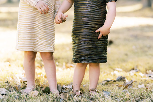 Toddler girls shift dress in metallic gold and black
