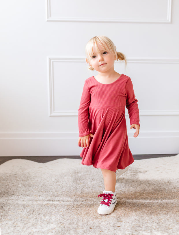 Mauve toddler twirl dress for fall family photos