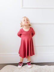 Modern solid knit twirly dress for girls
