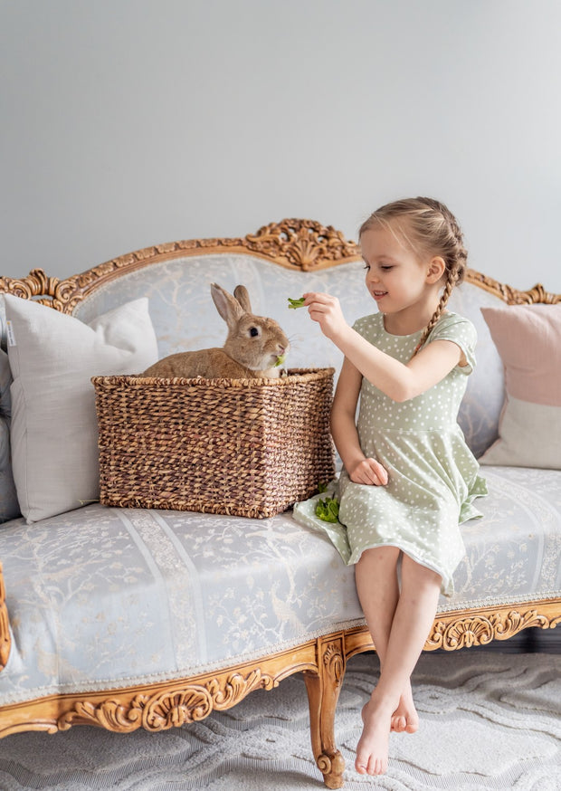 Girls Easter Dress in Sage Green