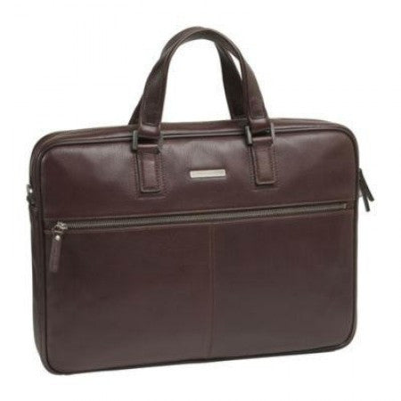 Slim Zip-Top Leather Briefcase