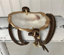 Load image into Gallery viewer, Oyster Shell Leather Wrap Bracelet
