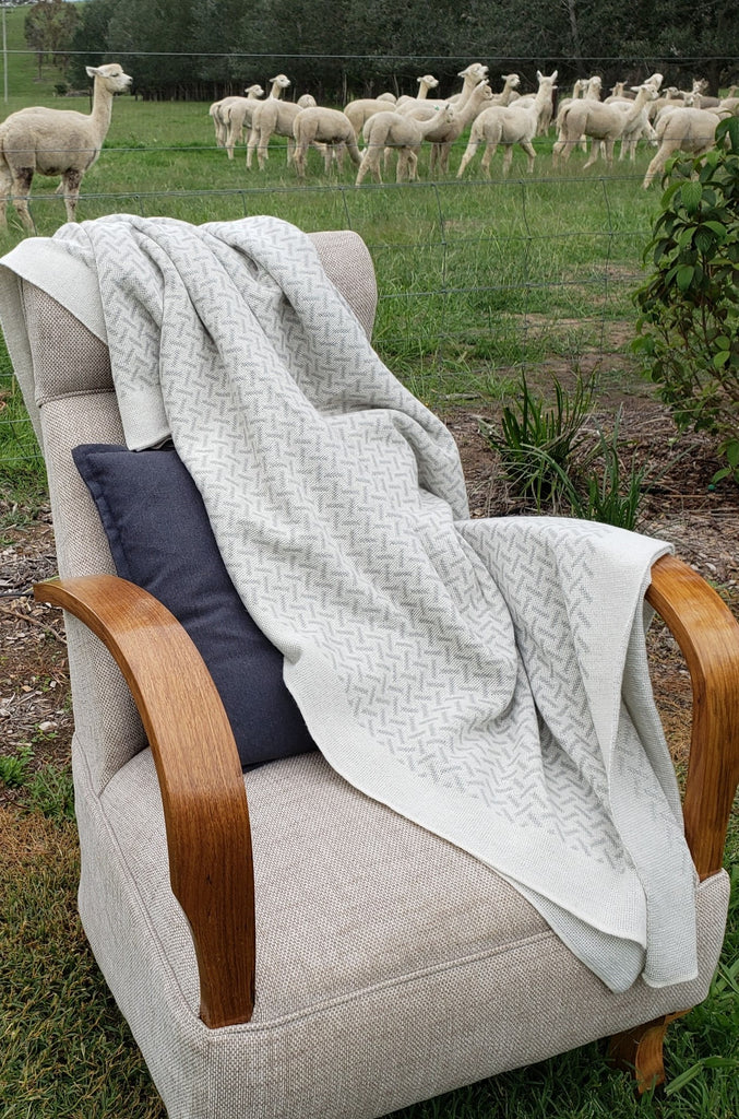 A timeless pure alpaca wool blanket in herringbone style with alpacas in the background