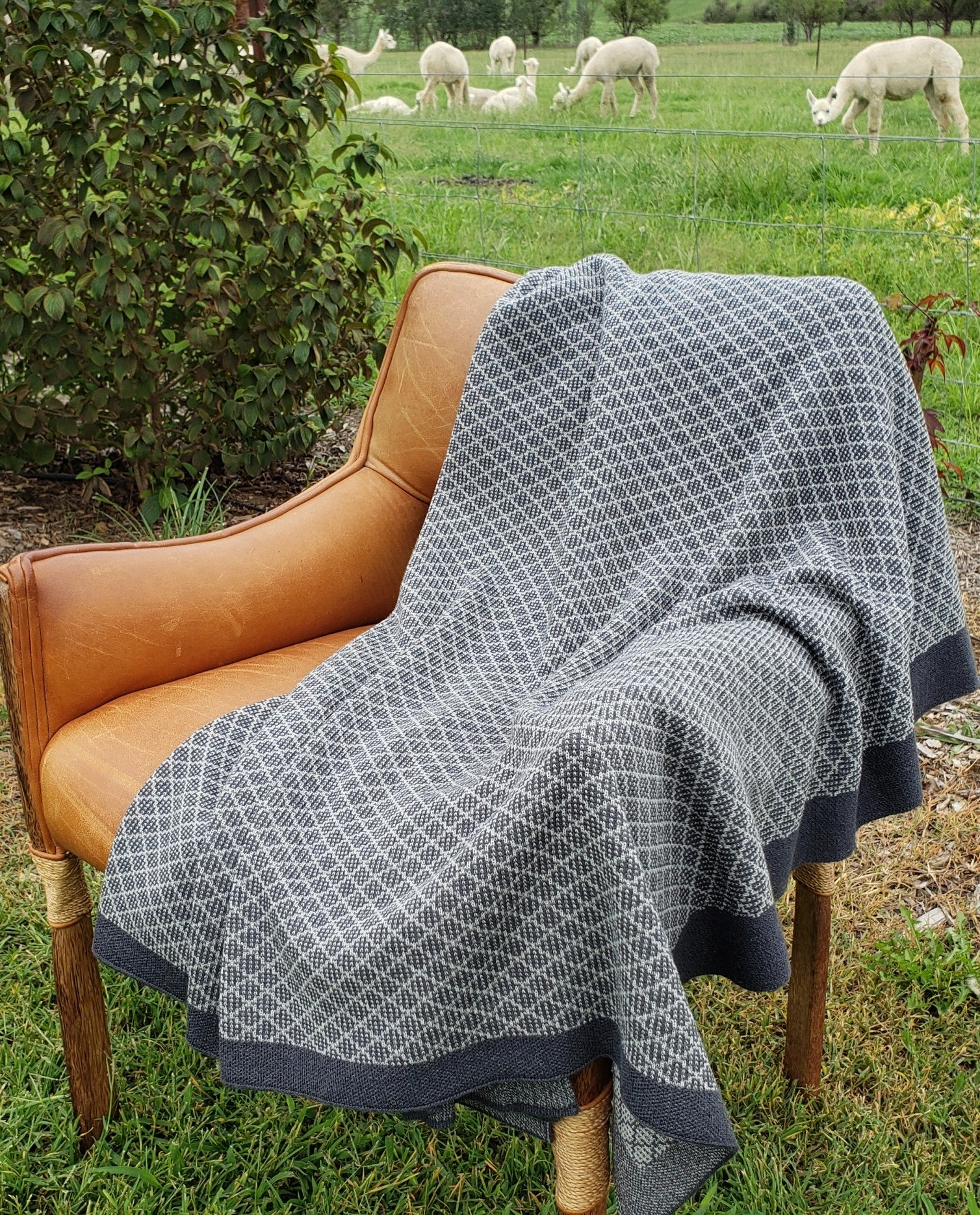Mosaic pattern pure alpaca wool blanket on a chair in paddock with the alpacas. Stormy grey and natural in color.