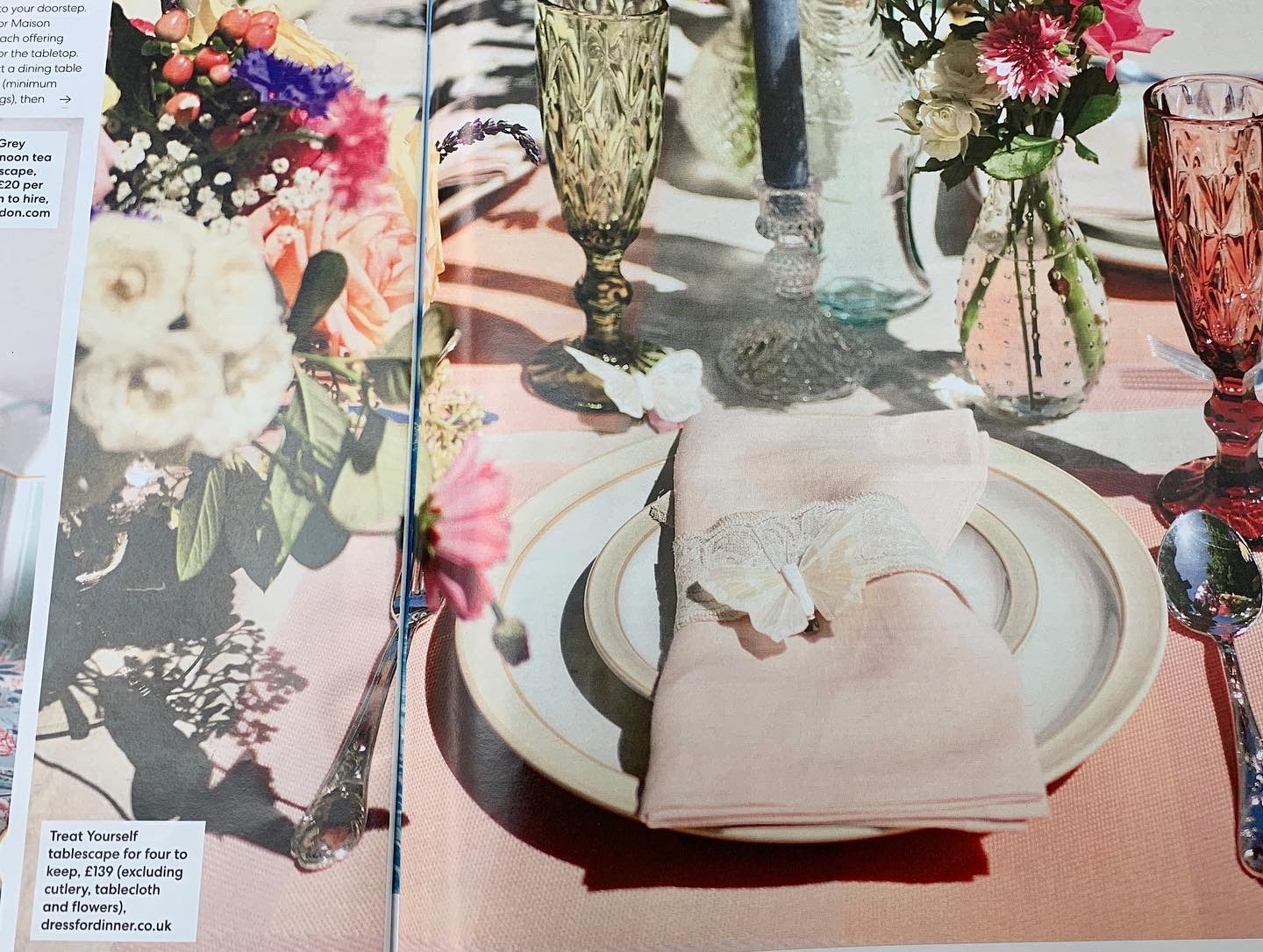 You Magazine article about Dress For Dinner. Beautiful picture of pastel tablescape.