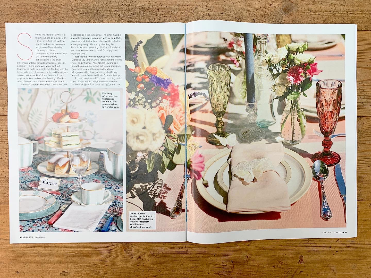 You magazine article about Dress for Dinner tablescapes. Beautiful large picture featuring our lovely products