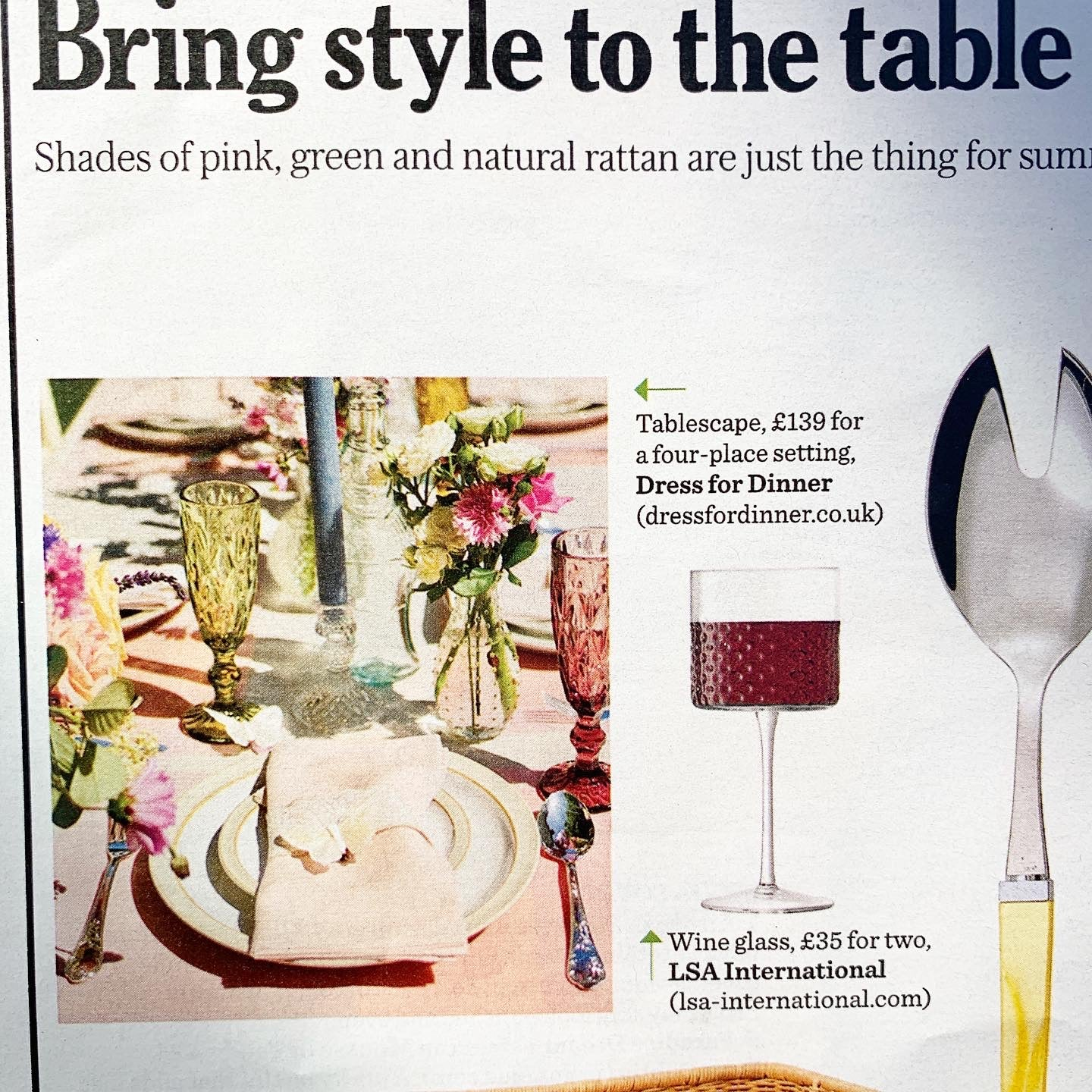 Magazine article featuring Dress For Dinner, Stella Magazine July 2020