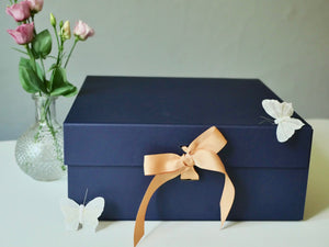 Gift box, bud vase, white butterflies. Tablescape gift box.