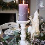 Load image into Gallery viewer, White wooden pillar candle holder with grey candle, Dress For Dinner