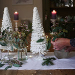 Load image into Gallery viewer, Christmas table decorations, Dress For Dinner white linen table runner