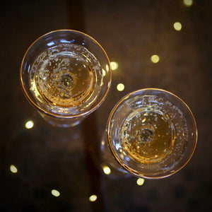 GATSBY CRYSTAL AND GOLD CHAMPAGNE COCKTAIL COUPES - pair