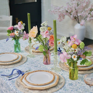Summer Garden Miniscape, bamboo plates, colombian collective placemats, coloured bud vase trio