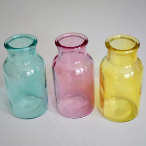 coloured bud vases